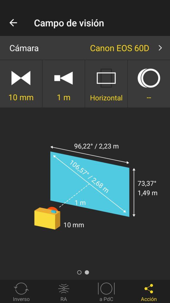 Angulo Visión APS-C y 10 mm - Grafico